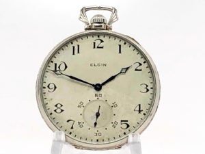 Elgin Art Deco Gentleman's Dress Pocket Watch in 14K Solid White Gold Case