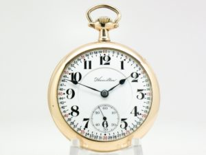Antique Hamilton Pocket Watch Railroad Grade 992 Model 1 with Ornate Damasking Housed in this Gold Fill Case circa 1913